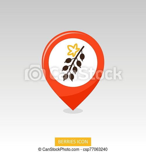 Red currant. Black currant with leaf pin map icon - csp77063240