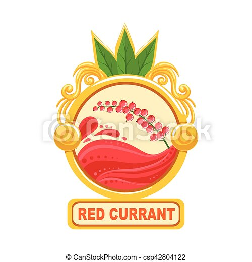 red currant bright color jam label sticker template in round