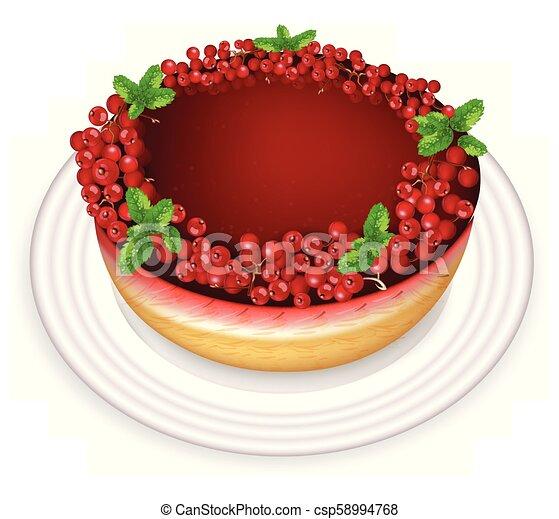red currant cake vector realistic sweet tasty dessert menu