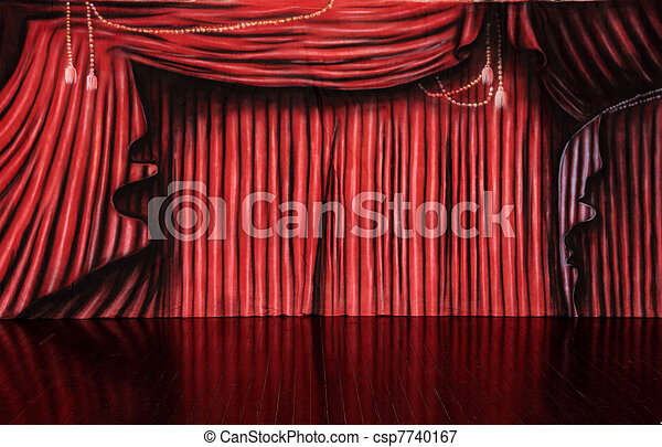 Red Curtain Background Muslin Backdrop On Polished Picture