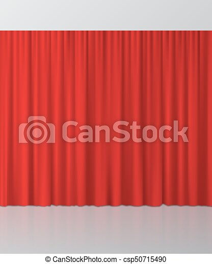 Red curtain background. Vector illustration. - csp50715490