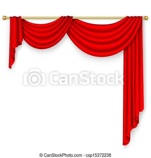 Red curtain . Mesh. - csp15372238