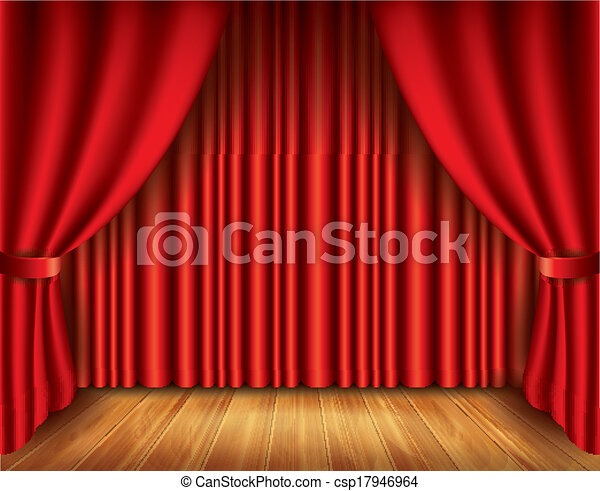 Red curtain vector illustration - csp17946964