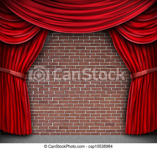Red Curtains On A Brick Wall - csp10538984