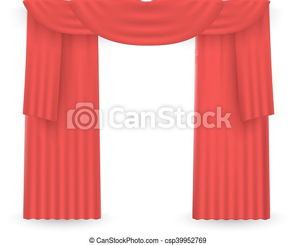 Red curtains on a white background. Vector - csp39952769