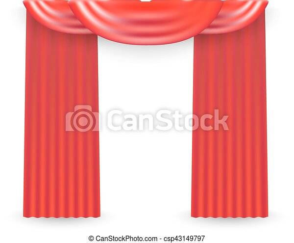 Red curtains on a white background. Vector - csp43149797