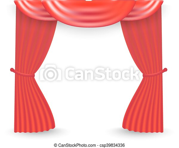 Red curtains on a white background. Vector - csp39834336
