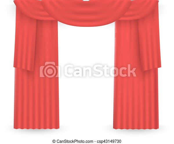 Red curtains on a white background. Vector - csp43149730
