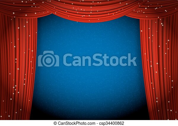 Vector   Red Curtains On Blue Background With Glittering Stars. Open  Curtains As Theater Or Movie