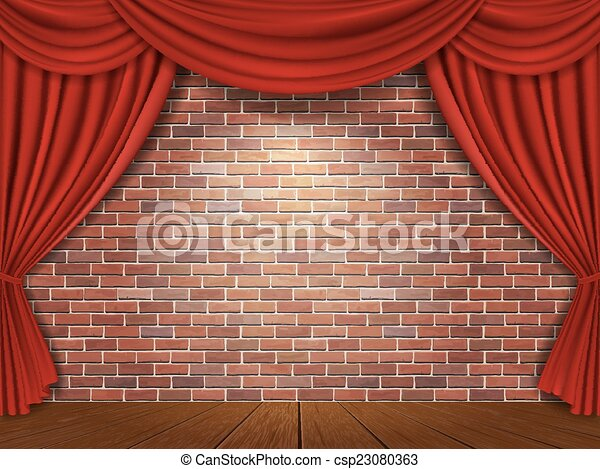 Red curtains on brick wall background - csp23080363