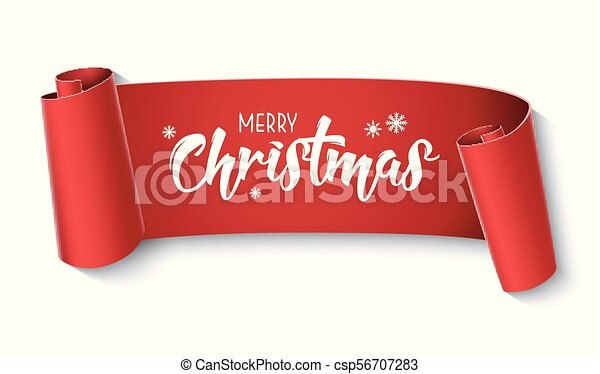 red curved paper merry christmas banner isolated on white background csp56707283 - Merry Christmas Banner