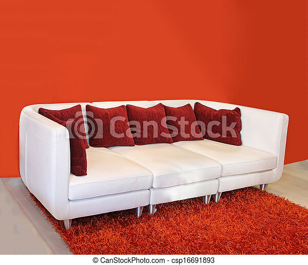 red cushion sofa modern white leather sofa inside interior with red