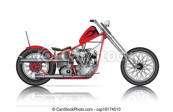 red custom chopper - csp18174510