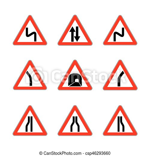 red dangerous signs danger triangle road signs isolated