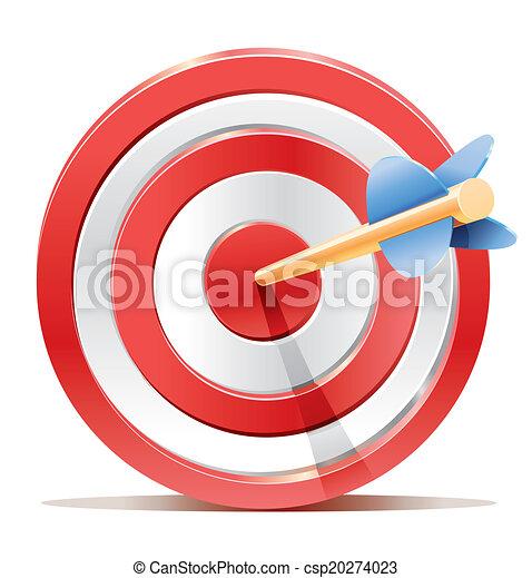 Red darts target aim and arrow. - csp20274023