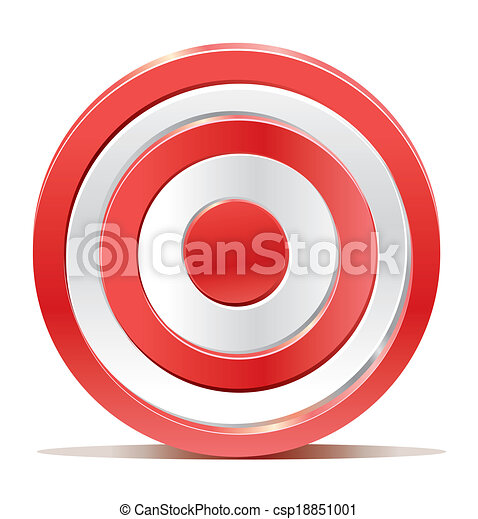 Red darts target aim on white background - csp18851001