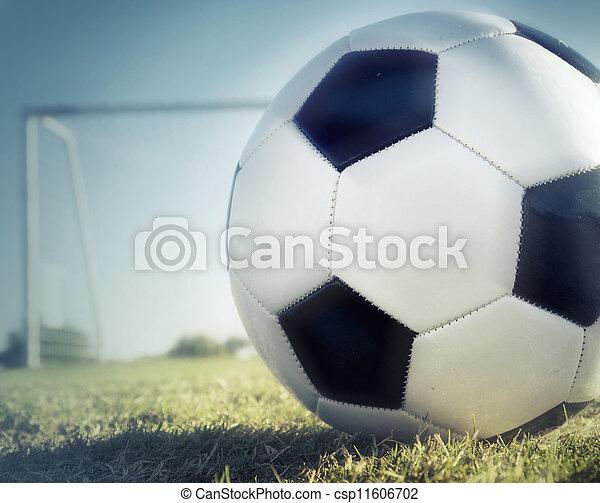 Bola de fútbol en la parte trasera de la red - csp11606702