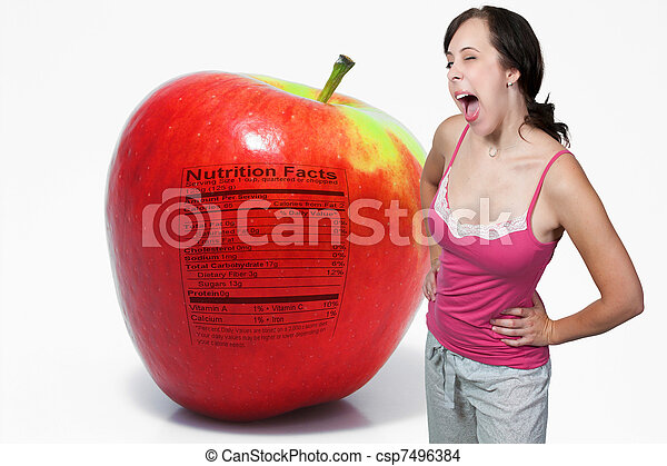 Red Delicious Apple with Nutrition Label - csp7496384