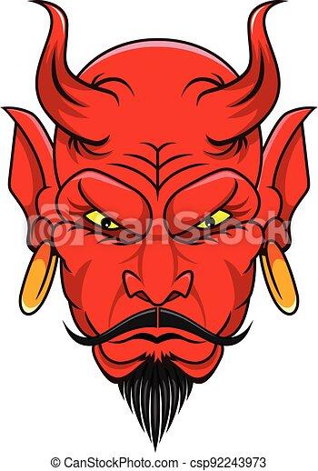 red devil head mascot - csp92243973