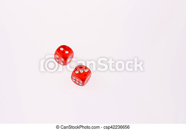 red dice on a white background - csp42236656