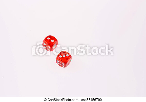 red dice on a white background - csp58456790