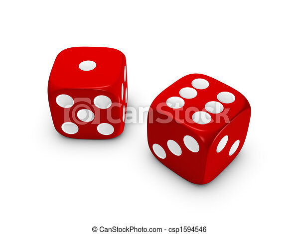 red dice on white background - csp1594546
