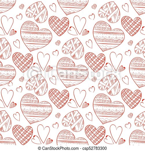 Red Doodle Hearts Seamless Pattern