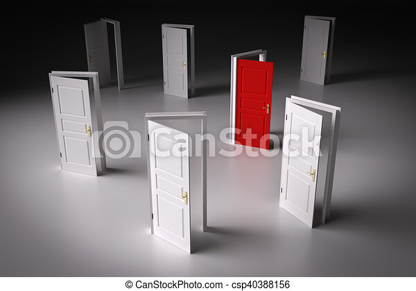 Red door among other white ones. Decision making - csp40388156