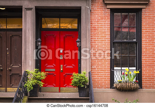 Stock Photography Of Red Door Old New York City Apartment Red