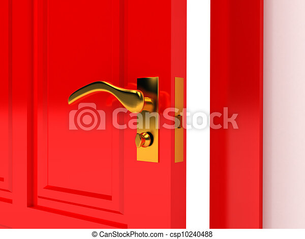 Red door over white background - csp10240488