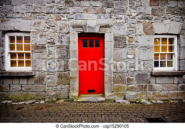 Red Door - csp15290105 & Stock Photography of Red Door - Red door on old European stone ... Pezcame.Com
