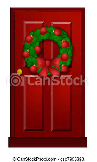 Red Door With Christmas Wreath Illustration  sc 1 st  Can Stock Photo & Red door with christmas wreath illustration. House red door with ...