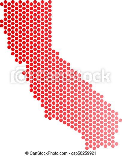 California Map Icon.Red Dot California Map Red Dotted California Map Geographic Scheme