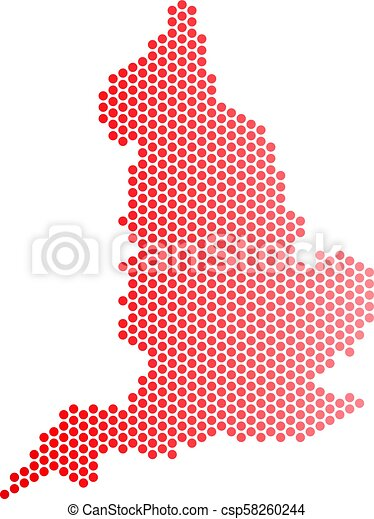 Geographic Map Of England.Red Dot England Map