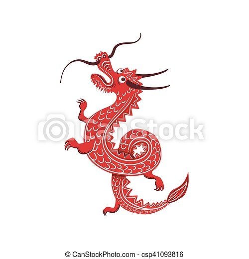 Red Dragon Japanese Culture Symbol Isolated Object Vector Clip
