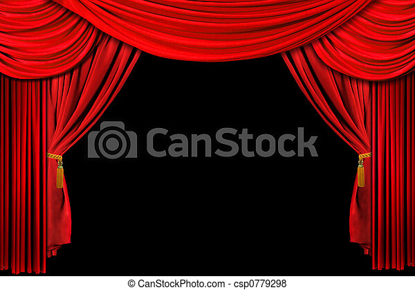 Red Draped Stage Background - csp0779298