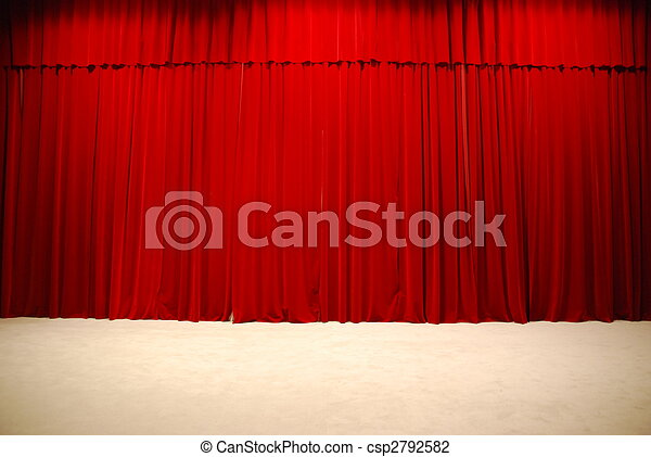 Red draped theater stage curtains - csp2792582