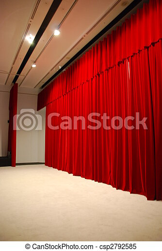 Red draped theater stage curtains with lights - csp2792585