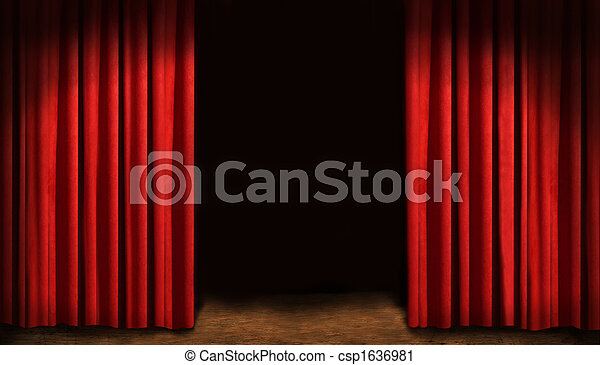 Red drapes and dark background - csp1636981