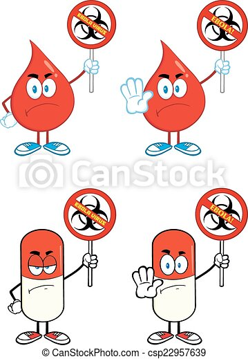 Red Drop And Pill Characters  - csp22957639