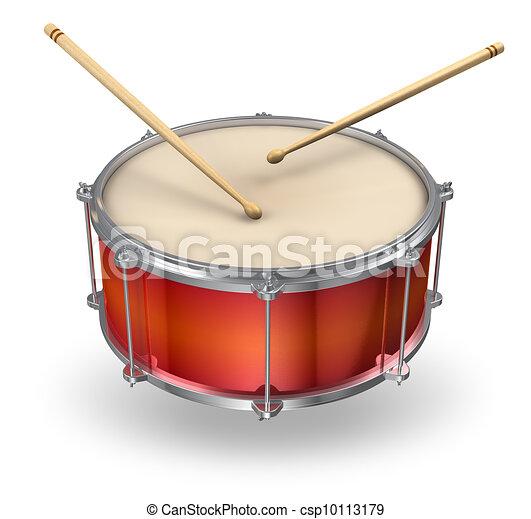Red drum with drumsticks - csp10113179
