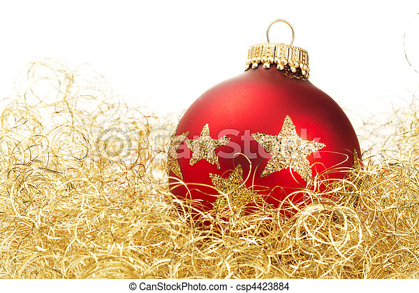 red dull christmas ball in golden glitter cotton on white background - csp4423884