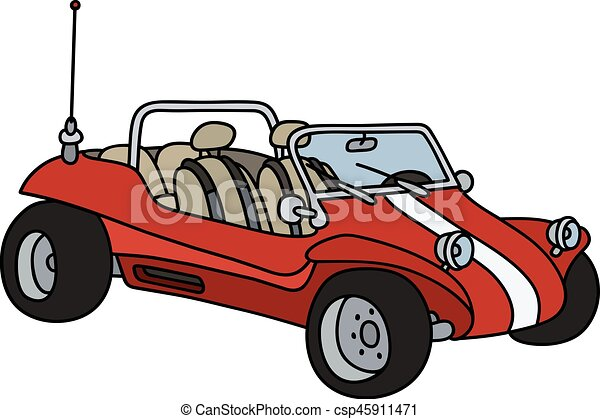 red dunne buggy hand drawing of a funny red dune buggy not a real