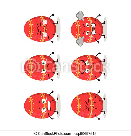 Red easter egg cartoon character with various angry expressions - csp90697515