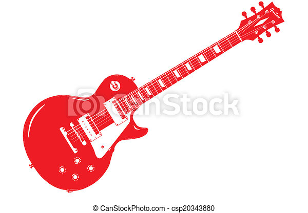 Red Electric Guitar - csp20343880