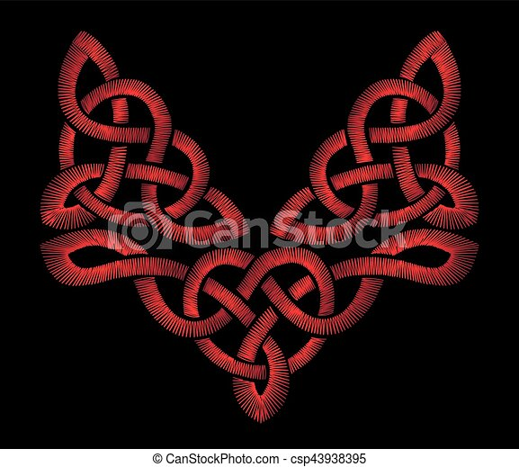 Red Embroidery On A Black Background Celtic Patterns Irish