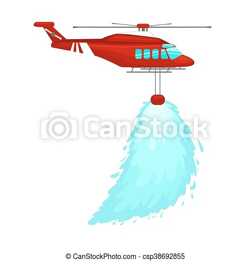 Red emergency propeller helicopter in the air with water ...