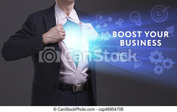 Negocios, tecnología, Internet y el concepto de red. Un joven hombre de negocios muestra la palabra - csp46954708