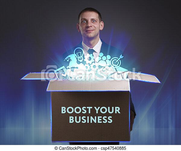 Negocios, tecnología, Internet y el concepto de red. Un joven hombre de negocios muestra la palabra - csp47540885