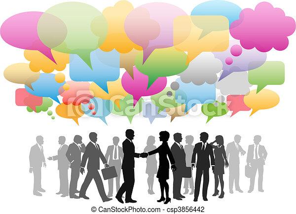 La red social de medios de comunicación de negocios habla de la compañía - csp3856442